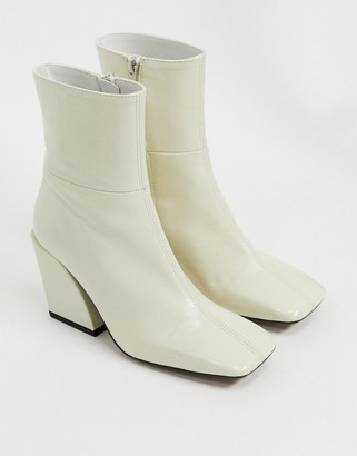 CHIO square toe boots in white leather