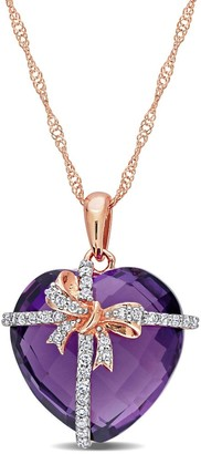Miadora 12ct TGW Heart-cut Amethyst and 1/8ct TDW Diamond Bow Necklace in 10k Rose Gold