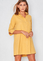 Missy Empire Ainsley Mustard Faux Suede Pocket Shirt Dress