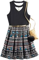 Knitworks Girls 7-16 Knit Works Printed Keyhole Skater Dress with Crossbody Purse