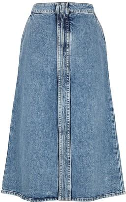Stella McCartney Blue stretch-denim midi skirt
