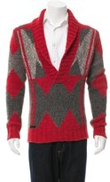 Diesel Patterned Knit Shawl Neck Sweater