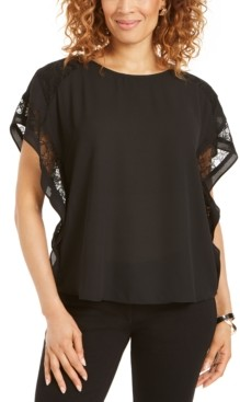 JM Collection Lace-Trim Flutter-Sleeve Top, Created for Macy's