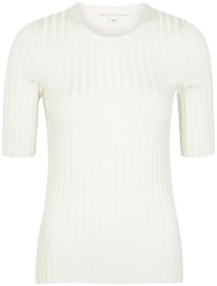 Veronica Beard Dillon off-white ribbed-knit top