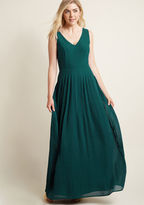 ModCloth Drop Waist Pleated Maxi Dress in Forest in S
