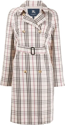Burberry Pre Owned 2000s Tartan Check Belted Trench Coat