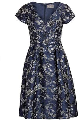 Theia Metallic Floral Jacquard Dress