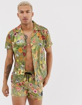 SikSilk co-ord short sleeve shirt in green floral print