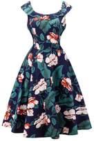 Dasbayla Lady Plus Size High Waisted A-Line Retro Flowers Swing Cocktail Party Dress XXL