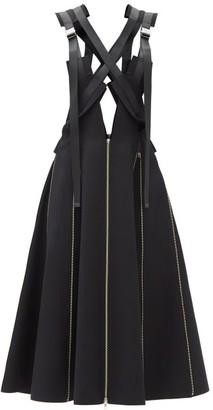 Junya Watanabe Harness-bodice Zipped Wool-twill Dress - Black