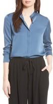 Vince Women's Stretch Silk Band Collar Blouse
