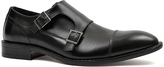 Joseph Abboud Black Dante Leather Double Monk-Strap Shoe