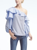 Banana Republic One-Shoulder Poplin Top