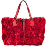 RED Valentino Valentino Red Satin Rose Embellished Tote