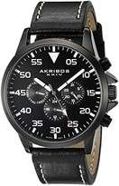 Akribos XXIV Men's AK773BK Multifunction Swiss Quartz Movement Watch with Black Dial and Black with Cream Stitching Leather Strap