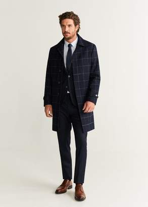 MANGO MAN - Belt cashmere wool coat blue - XS - Men