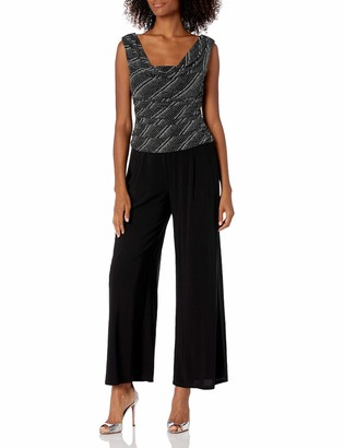 R & M Richards R&M Richards Women's Two Piece Sequins trens Knit Jacket and Solid Dress Black/Silver 16