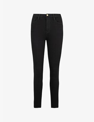Frame Ladies Black Cotton Ali High-Rise Cigarette Jeans, Size: 23
