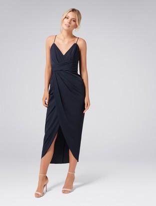 Forever New Charlotte Drape Maxi Dress - Navy - 4
