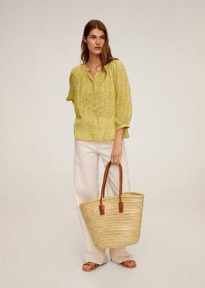 MANGO Printed cotton blouse yellow - 6 - Women