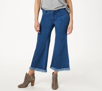 Women With Control Petite My Wonder Denim Frayed Crop Jeans-Indigo