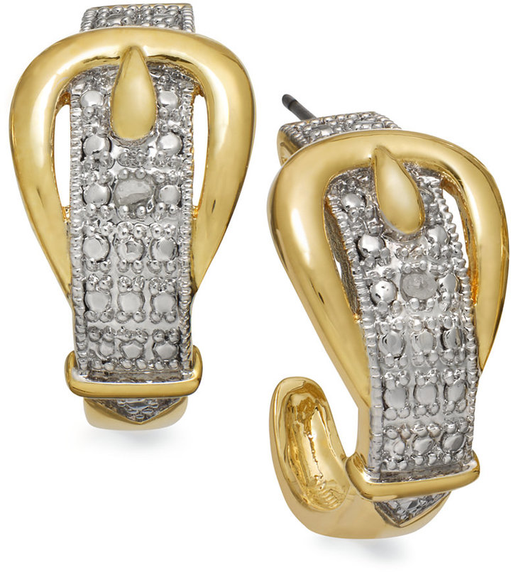 Townsend Victoria 18k Gold over Sterling Silver Diamond Accent Buckle Earrings