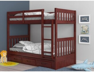 "Birch Laneâ""¢ Heritage Giuseppe Twin Over Twin Bunk Bed with Drawers Birch Lanea Heritage Bed Frame Color: Merlot"