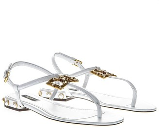 Dolce & Gabbana White Amore Thong Sandals In Leather