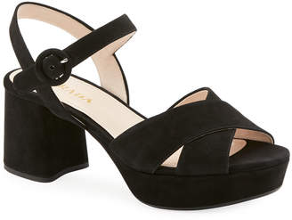 Prada Suede Crisscross Ankle-Wrap 65mm Sandals
