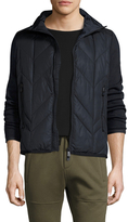 Moncler Quilted Down Zip Front Sweater