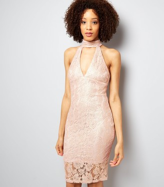 New Look AX Paris Shell Lace Choker Neck Dress