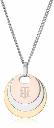 Tommy Hilfiger Women's Jewelry Stainless Steel Tri Color Disc Necklace Color: Silver