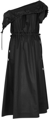 3.1 Phillip Lim Black asymmetric cotton midi dress