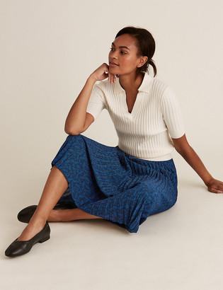 Marks and Spencer Leaf Print Pleated Midi Skirt