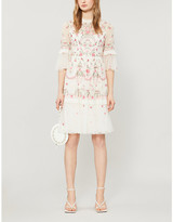 Selfridges Needle And Thread Butterfly Meadow floral and sequin-embroidered woven mini dress