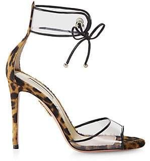 Aquazzura Women's Optic Leopard Calf Hair Sandals