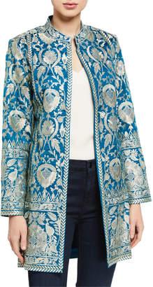 Bella Tu Selena Metallic Embroidered Jacket w/ Mandarin Collar