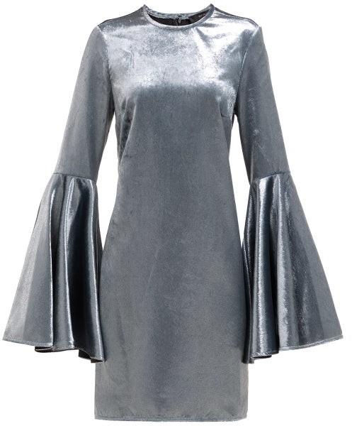 Ellery Dogma Flared Sleeve Velvet Mini Dress - Womens - Blue