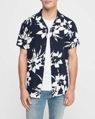 Express Slim Tropical Print Rayon Short Sleeve Shirt