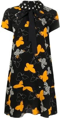 RED Valentino Butterfly Shift Dress With Bow