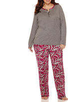 Liz Claiborne Long-Sleeve Henley and Pants Pajama Set - Plus