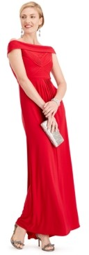 Adrianna Papell Pintuck Off-The-Shoulder Gown