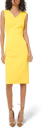 Michael Kors Double Faced V-Neck Sleeveless Sheath Dress