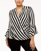 INC International Concepts Plus Size Striped Bell-Sleeve Surplice Top, Created for Macy's