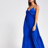 River Island Womens Blue frill V neck cami maxi dress