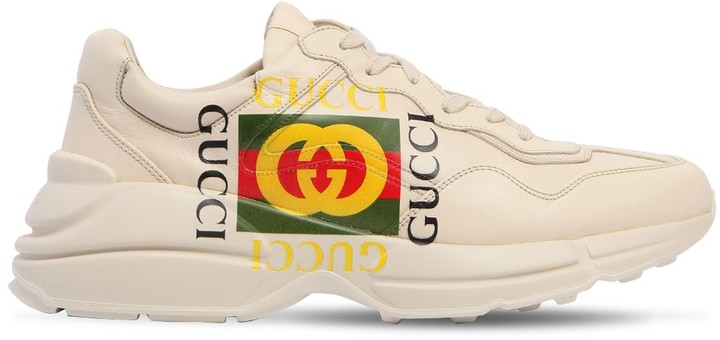 Gucci Rython Print Leather Sneakers