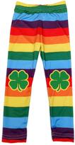 Urban Smalls Rainbow Stripe Shamrock-Patch Leggings - Infant & Girls