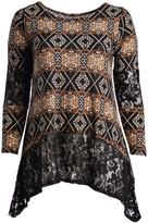 Glam Black & Tan Abstract Lace-Accent Sidetail Tunic - Plus