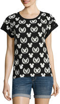 Mighty Fine Short-Sleeve Roll-Cuff Allover Print Tee - Juniors