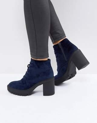 St Sana Velvet Platform Chunky Heel Boot-Navy